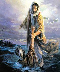 Jesus salvando a Pedro. ¿Quién es este que hasta las aguas y el viento lo obedecen?