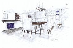 Small Modern Dining Room, Michelle Morelan Design and Rendering