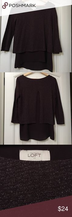 Loft Mixed Media Top Gorgeous Loft mixed media top with a unique split-back design. Bottom layer is a flow-y polyester and top layer is a lightweight sparkly sweater knit. High-low design is long enough in the back to be cute with leggings or skinnies! Gorgeous eggplant color. Excellent condition, only worn once. LOFT Tops