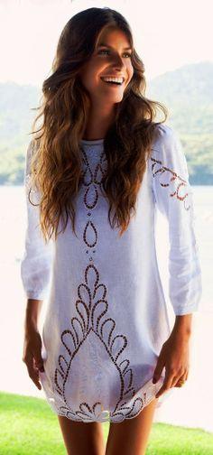 Adorable white swimwear mini dress   HIGH RISE FASHION