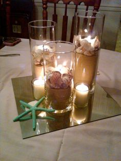 DIY centerpiece idea. you can lay flat cut sunflower heads on mirror and sea glass or blue gems