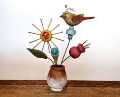 Folk art bird on flowers sculpture by GregGuedel on Etsy