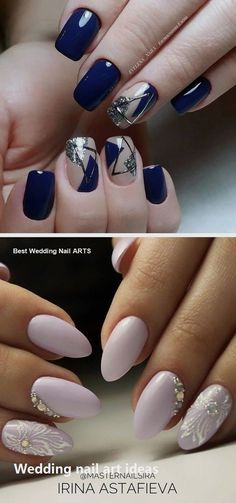 35 Simple Ideas for Wedding Nails Design - Maniküren - Nageldesign Natur Natural Wedding Nails, Simple Wedding Nails, Wedding Nails Design, Natural Nails, Blue Wedding Nails, Nail Art Hacks, Cute Nails, Pretty Nails, Hair And Nails