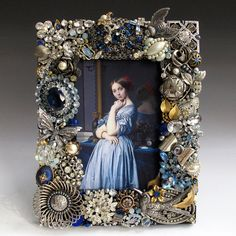 Vintage Jewelry Frame in Blues and Silver by vintagedesign39, $175.00