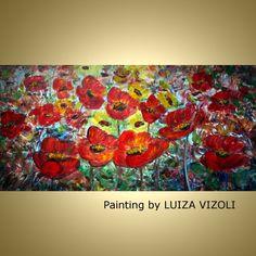 Original Modern Abstract large Textured Flowers by LUIZAVIZOLI, $349.00