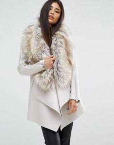 Пальто с каскадной драпировкой и искусственным мехом River Island