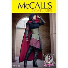 Misses Dress, Corset, Hood, Cape and Gusset Costume McCalls Sewing Pattern 7645.