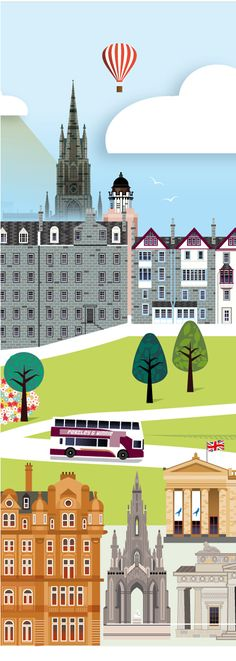 Detail of the Love Edinburgh print, depicting the view from princes Street over to Ramsay Garden and Edinburgh Castle.