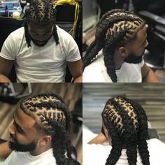Men Dread Styles, Mens Dreadlock Styles, Dreads Styles, Dreadlock Hairstyles For Men, Black Men Hairstyles, Braided Hairstyles, Dope Hairstyles, Hair Twist Styles, Natural Hair Styles