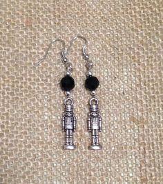 Black and Silver Nutcracker Earrings Christmas by AllMyAdornments