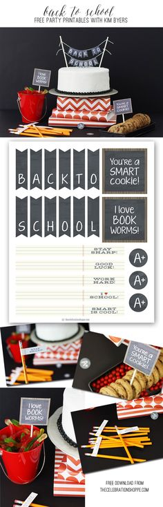 Back To School Party + Free Cake Topper & Party Printables | Kim Byers, TheCelebrationShoppe.com #backtoschool