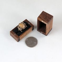 Ring Box Reclaimed Black Walnut Hardwood by JMCraftworks on Etsy  #Walnut #Box tiny enough to hide in a pocket, but roomy enough to hold a special ring.