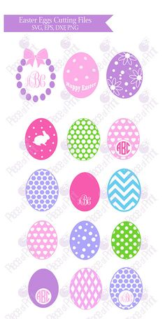 Easter Egg SVG EPS DXF png cut files Monogram by pieceofprint
