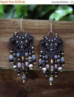 New Bohemian Earrings with Black Onyx and Moon stone beads #macrame #boho #earrings