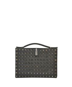 Valentino Leather minaudiere with studs | Lindelepalais.com 13393