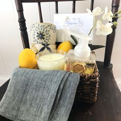 Welcome someone to the neighborhood (or congratulate a friend on their new home) with this simple & thoughtful gift basket! #socharming #oldtownwinchester #housewarming #giftbasket #welcometotheneighborhood