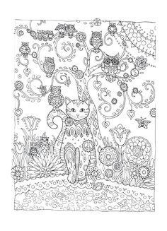 Cat and Owls Abstract Doodle Zentangle ZenDoodle Paisley Coloring pages… Adult Coloring Pages, Cat Coloring Page, Animal Coloring Pages, Colouring Pages, Printable Coloring Pages, Coloring Sheets, Coloring Books, Mandala Coloring, Cat Embroidery