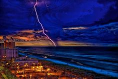 A lightning strike over Casa Marina in Jacksonville Beach, Florida. What a great place to watch storms.