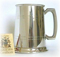 Made In Sheffield Uk-Traditional Pewter Beer Tankard - 1 Pint by Made in Sheffield UK. $31.04. our measurements are Imperial measures not US and are approx 4% smaller. A tapered tankard, features a simple, elegant linear pattern around its body. A light gauge pewter with a high polish finish outside & inner satin finish. This items is complete with a basic presentation box