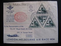 First KLM Flight - flightcover KLM: Amsterdam - Sydney Australia 20-10-1934...