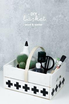 Korb aus Obstkiste basteln: DIY Idee aus Holz & Leder im schlichten Skandinavischen Schwarz Weiß Design | Tutorial auf dem Blog | Aufbewahrung selber machen | Storage Idea