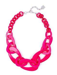 Mod Resin Links Necklace hot pink