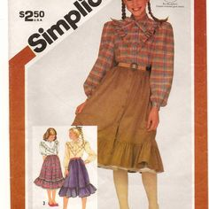 A Buttoned, Ruffled Blouse and Full Gathered, Ruffled Hem Skirt & Petticoat Pattern