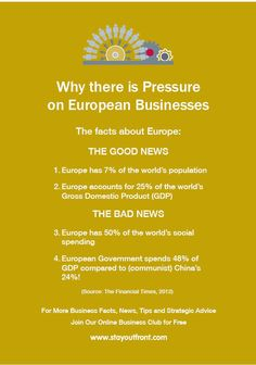 The stark facts about the burdens on European Businesses www.stayoutfront.com