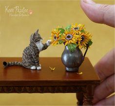 Miniature Tabby Cat sculpture by Pajutee.deviantart.com on @deviantART