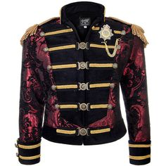 Shrine of Hollywood Dominion Jacket (Red/Gold) (€540) ❤ liked on Polyvore featuring outerwear, jackets, steampunk jacket, red jacket, blue jackets and gold jacket