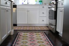 Painted Desert Rugs in the kitchen