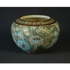 Doulton Lambeth stoneware jardiniere. Tapestry style floral… - Royal Doulton/Doulton - Other - Ceramics - Carter's Price Guide to Antiques and Collectables