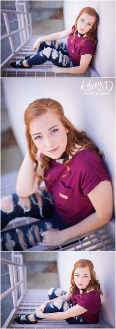 Posing Senior Girls on Stairs Pose Ideas - Senior Photographer Columbia Missouri Kacey D Photography