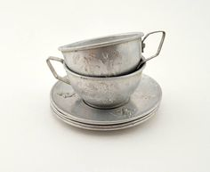 Vintage Play Dishes Tin Cup Creamer and 4 Saucers Embossed