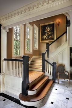 You must have a great entrance/staircase in a historic home. It's so stately! You must have a great entrance/staircase in a historic home. It's so stately! Home Interior Design, Exterior Design, Craftsman Interior, Foyer Decorating, Decorating Ideas, Decor Ideas, Stair Steps, House Stairs, Wood Stairs
