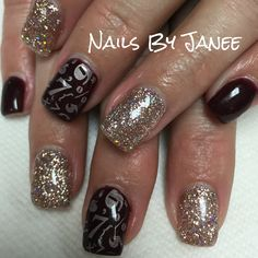 Wine and champagne gel nails for New Years by Janee. A Wild Hair Salon Reno Nevada