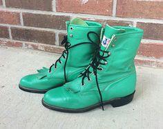 vtg 80s Bright GREEN leather lace up ROPER BOOTS fringe 7 grunge western cowboy rare