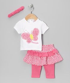 Take a look at this Pink Polka Dot Butterfly Leggings Set by Just Too Cute on #zulily today!