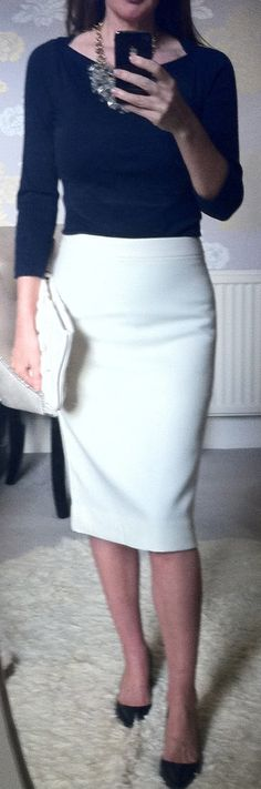 Love the whole look! Black boatneck and JCrew no.2 pencil skirt in antique white <3