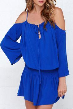 Off-The-Shoulder Blue Elastic Waist Dress BLUE: Casual Dresses | ZAFUL
