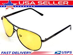 3e05c44a76 HD + Vision Polarized Night Driving Sunglasses High Definition Yellow  Aviator  Unbranded  Pilot Hd