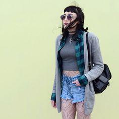 "Kaicee ケーシー on Instagram: ""Dat wind tho  #me#photography#ootd#fashion#fashionblogger#grunge#90s#alternative#softgrunge#cardigan#flannelshirt#tigerprint#stripes#tights#highwaistedshorts#denim#minishorts#laceup#croptop#tattoochoker#backpack#leather#fma#fullmetalalchemist#animé#otaku#nutkaic"""