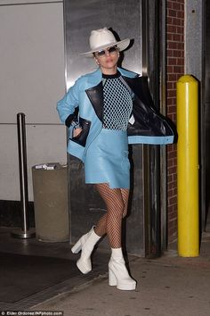 Crazy look:Lady Gaga once again pulled it out of the quirky bag in New York on Tuesday ni...