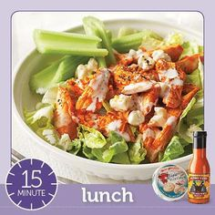 Hot Wing Salad made with Wing-Time Buffalo Wing Sauce (only 50 mg sodium per 2 tablespoons) and The Laughing Cow Light Blue Cheese (only 35 calories and 1.5 grams fat per wedge).