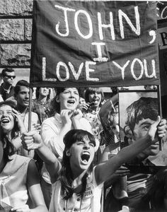 In the 60s they had proper education. You would never see a home-sewn sign with a comma after someone's name at a one direction concert...