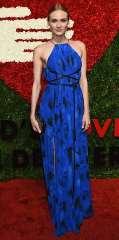 Diane Kruger stunned in a blue floral-printed number by Michael Kors at the 9th annual God's Love We Deliver Golden Heart Awards Gala.
