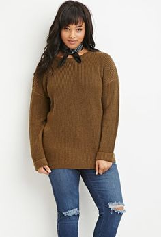 Plus Size Waffle Knit Cuffed Sweater | Forever 21 PLUS - 2000179773