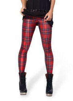 Calça legging xadrez vermelha