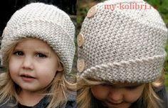Демисезонная шапочка для девочки спицами-5