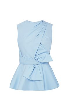 Cross Draped Front Peplum Bow Blouse by Prabal Gurung